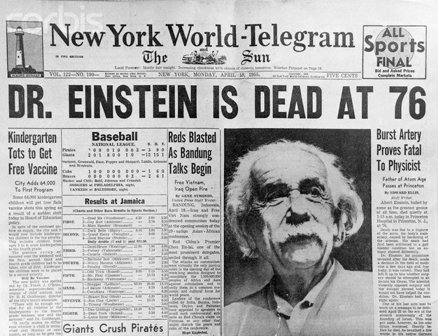 Noticia de la muerte de Einsten