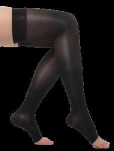 Medias compresivas negras hasta el muslo sin cubierta para dedos