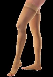 Medias para varices hasta el muslo color piel sin cubierta para dedos