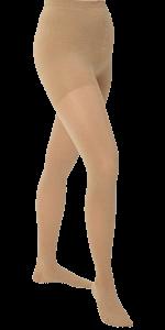 Medias panty compresivas color piel con cubierta para dedos